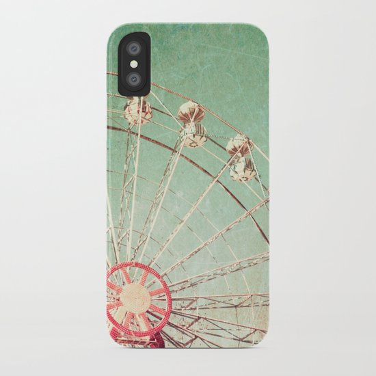 Ferris Wheel on Blue Textured Sky  iPhone Case