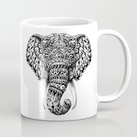bioworkz Mugs featuring Ornate Elephant Head by BIOWORKZ