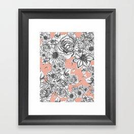 B&W Flowers Coral Framed Art Print