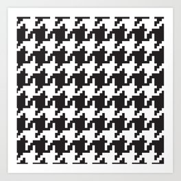 Houndstooth - Black & White Art Print
