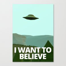 I want to believe low-poly ufo Canvas Print