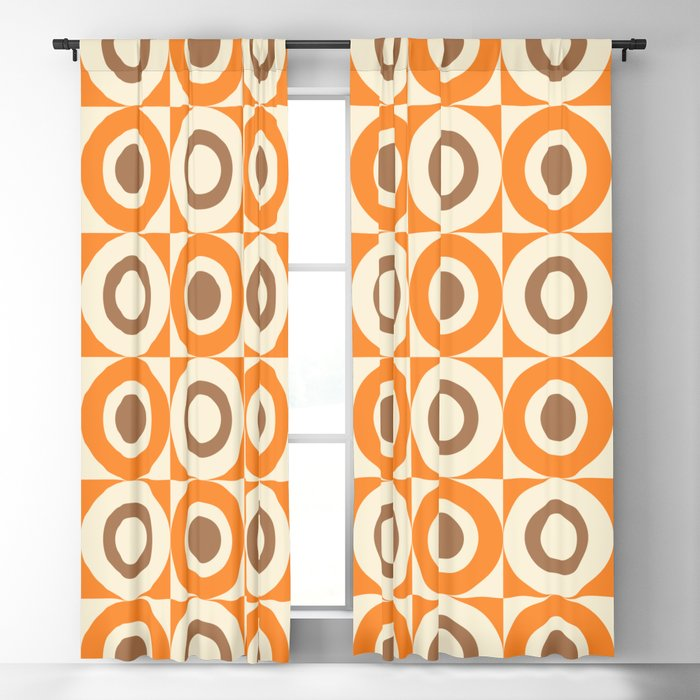 Mid Century Square and Circle Pattern 541 Orange and Brown Blackout Curtain