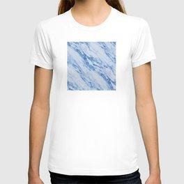Azure Blue Marble on Marshmallow Cream T-shirt