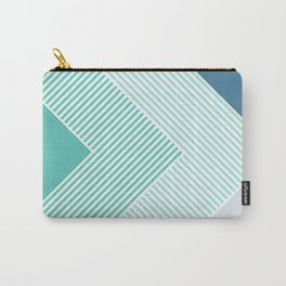 Teal Vibes - Geometric Triangle Stripes Carry-All Pouch