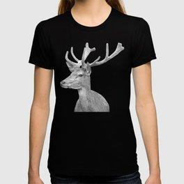 Black and white deer animal portrait T-shirt
