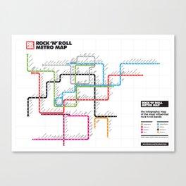 Rock'n'Roll Metro Map Canvas Print