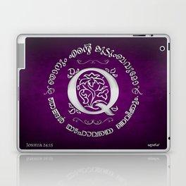 Joshua 24:15 - (Silver on Magenta) Monogram Q Laptop & iPad Skin