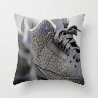 air jordan Throw Pillows featuring Air Jordan Retro 3 GS by TJAguilar Photos
