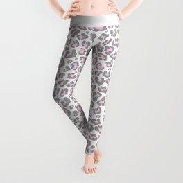 Pastel pink gray vector modern cheetah animal print Leggings
