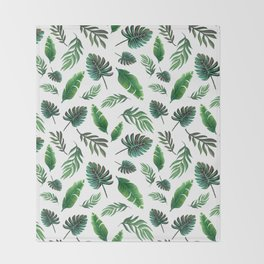 palm leaf print, tropical watercolor Throw Blanket
