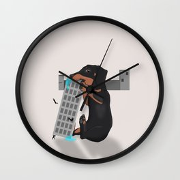 Attack of the Enormous Dachshund!!! Wall Clock