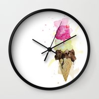 icecream Wall Clocks featuring ICECREAM by Creepstian