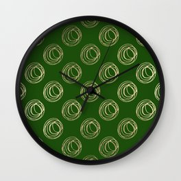 Forest green faux gold abstract geometrical swirls Wall Clock