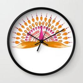 Mandala peacock - orange and pink palette Wall Clock
