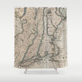 Vintage Map of The New England Coast (1747) Shower Curtain