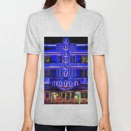 Ocean Drive South Beach Colony Hotel Midnight Cafe Dinner landscape by Jeanpaul Ferro Unisex V-Neck