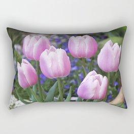 Spring gathering of pink tulips Rectangular Pillow