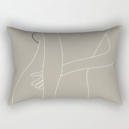 Minimal Line Art Woman Figure III Rectangular Pillow