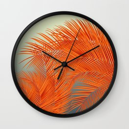 Palm Leaves, Orange Wall Clock