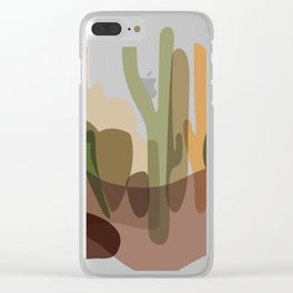 Abstract Desert Cactus Landscape Clear iPhone Case