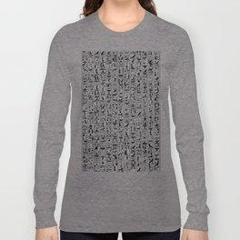 Hieroglyphics B&W / Ancient Egyptian hieroglyphics pattern Long Sleeve T-shirt