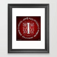Joshua 24:15 - (Silver on Red) Monogram I Framed Art Print