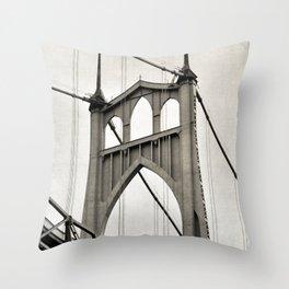 ST. JOHNS BRIDGE - PORTLAND OREGON - IN BLACK & WHITE Throw Pillow