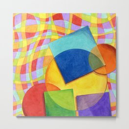 Candy Rainbow Circus Plaid Metal Print