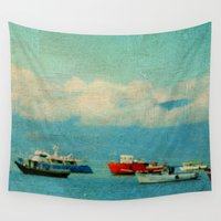 boats Wall Tapestries featuring Sea Boats by Lia Bernini