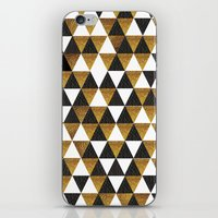 black and gold iPhone & iPod Skins featuring Black/Gold by T.Fischer