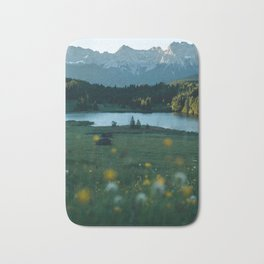 Sunrise at a mountain lake with forest - Landscape Photography Bath Mat