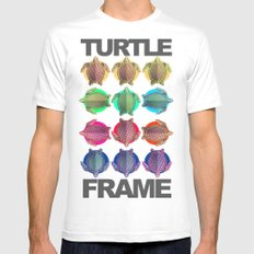 Turtle Frame White Mens Fitted Tee MEDIUM