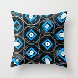 Metal tubes, hexagons and glass Throw Pillow