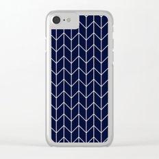 Chevron pattern -  white on darkblue Clear iPhone Case