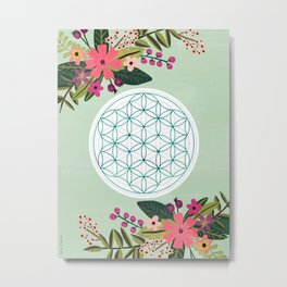 Sacred Geometry 2, Flower of Life Metal Print