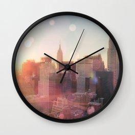 New York City Skyline Love Wall Clock