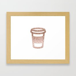 Sparkling rose gold coffee cup Framed Art Print