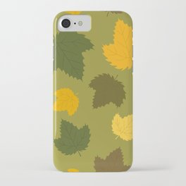 Autumn Hops Leaves on Green iPhone Case