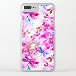 Dragonfly Lullaby in Pink and Blue Clear iPhone Case