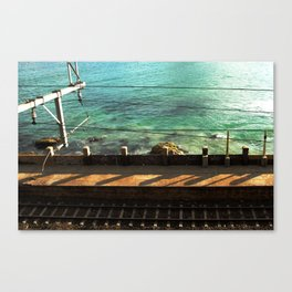 Train Tracks and Ocean Canvas Print