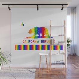 Rainbow California State Flag Wall Mural