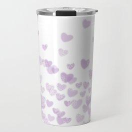 Hearts falling painted pastels purple heart pattern minimal art print nursery baby art Travel Mug