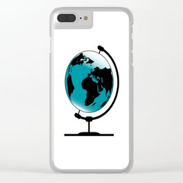 Mounted Globe On Rotating Swivel Clear iPhone Case