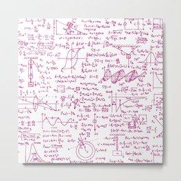 Physics Equations // Pink Metal Print