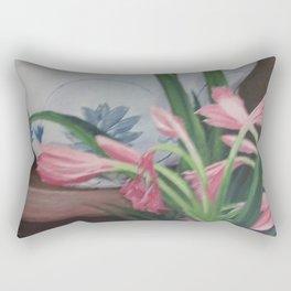 Porcelain bowl with lilies Rectangular Pillow