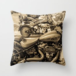 bikers day out - sepia Throw Pillow