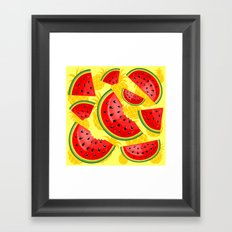 Watermelon and Pineapple Juicy Pattern Framed Art Print