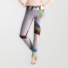 Barbados vintage parrot travel poster Leggings