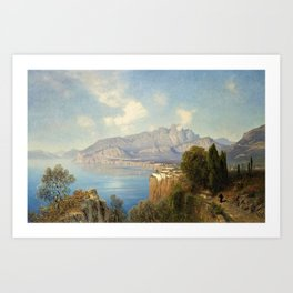 View of Sorrento Italy by Oswald Achenbach Italian Landscape Art Print