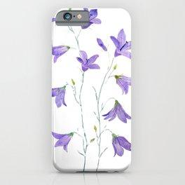 purple wildflower harebell watercolor iPhone Case